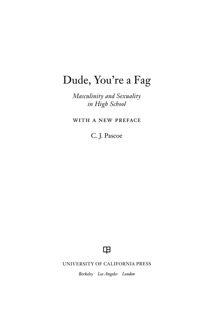gendering process among high school students in dude youre a fag by cj pascoe