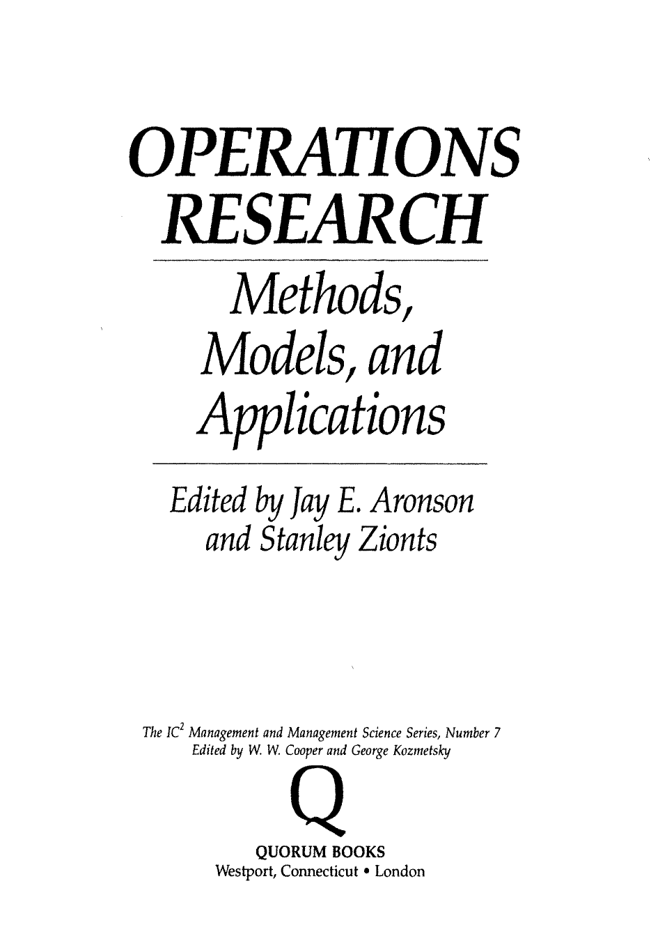 operational research method An operational definition is the also can denote a working method or a philosophy learning psychology: operational definitions research methods.