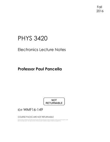 #149 - PHYS 3420 (Lecture Notes) - FALL 2016