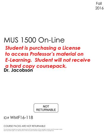 #118 - MUS 1500 On-Line - Fall 2016