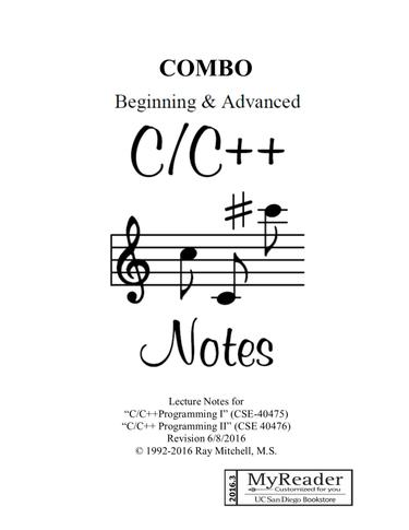 COMBO BEGINNING  and  ADVANCED C/C++ NOTES (PRINT & DIGITAL)