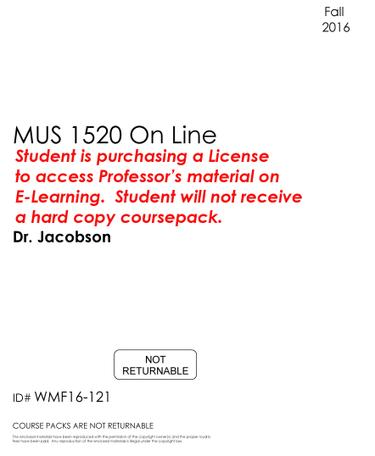#120 - MUS 1520 On-Line - Fall 2016