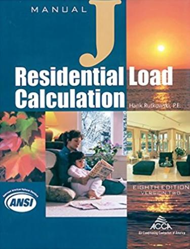 Manual J Residential Load Calculation Manual, Version 2.50