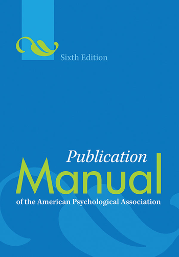 Publication Manual of the American Psychological Association 6th Edition by American Psychological Association.