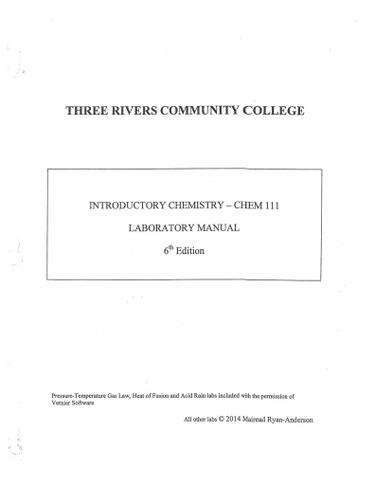 CHEM 111 - Introductory Chemistry Lab Manual