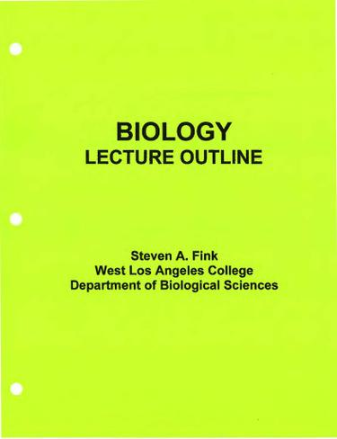 BIOLOGY LECTURE OUTLINE EREADER