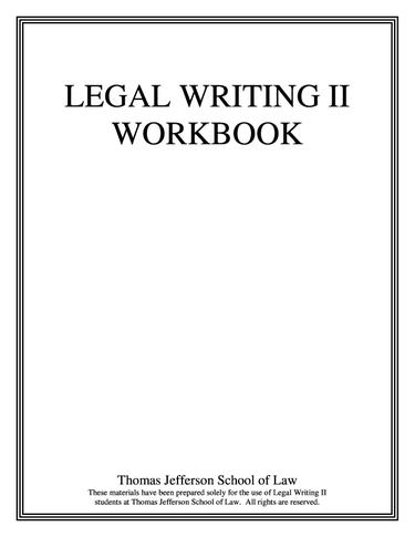 Legal Writing 2 Workbook
