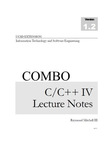 COMBO C/C++ IV LECTURE NOTES PRINT  and  DIGITAL
