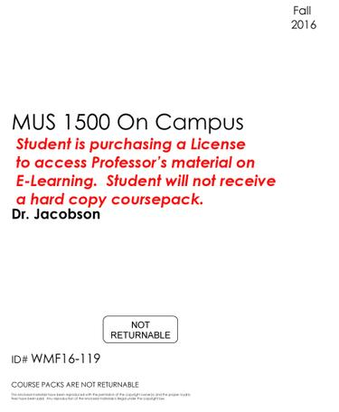 #119 - MUS 1500 - On Campus - Fall 2016