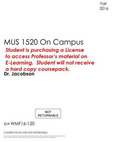 #121 - MUS 1520 On Campus - Fall 2016